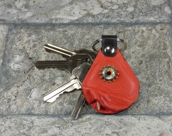 Steam Punk Genuine Red Leather Key Ring Key Charm Keyring Purse Charm Harry Potter Labyrinth