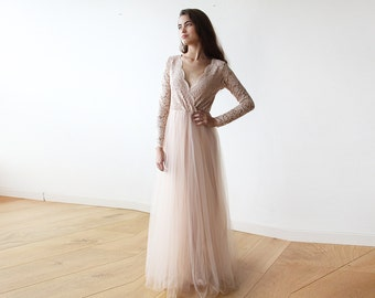 Blush tulle and lace long sleeves gown, Tulle and lace pink dress 1125