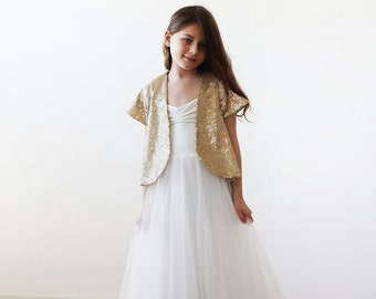 Gold sequin girls short bolero, Flower girls fancy sequin top, Sequin jacket for girls 5022