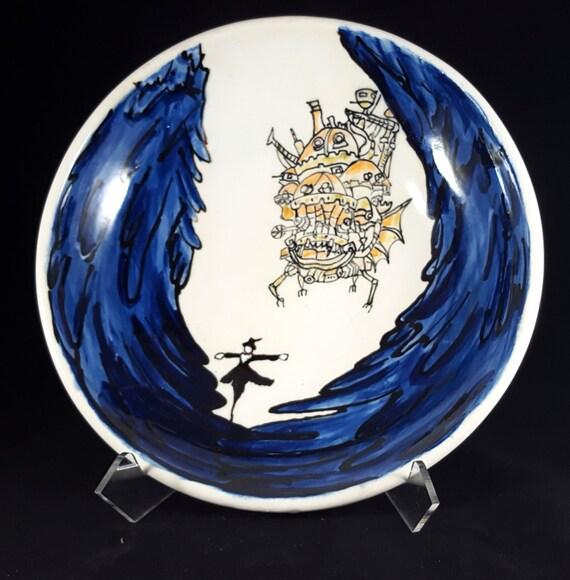 "Howl's Castle porcelain bowl 9"""