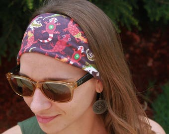 Lizard Headband Stretchy Cotton Headband Brown Red Green