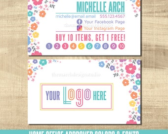 LuLa Business Cards, LLR Business Cards, Home Office Approved fonts, HO approved colors, LuLa Marketing Roe, LLR Marketing, floral, bright