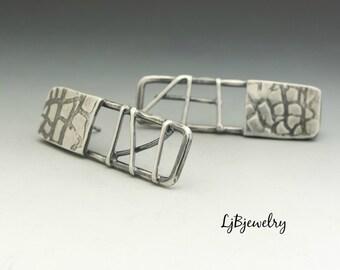 Silver  Earrings,  Stud Earrings, Sterling Silver, Metalsmith, Metalwork, Handmade, Artisan Jewelry