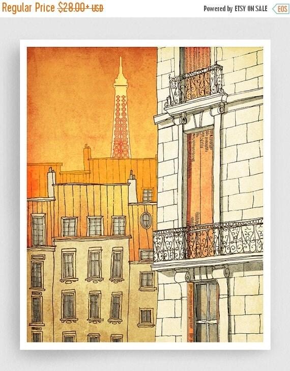 30% OFF SALE: Paris illustration - Paris windows - Art illustration Prints Posters Architectural drawing Paris decor Wall art Travel poster