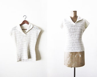 40s blouse / 1940s crochet blouse / off white hand crochet vintage top small