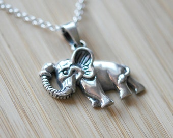 Elephant necklace, sterling silver elephant pendant, lucky charm, family, indian elephant, long necklace, gift for animal lover, olifant