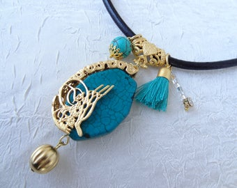 Gold Frame Necklace,Turquoise Necklace,Turkish Jewelry,Ottoman Signature,Ottoman jewelry, Ottoman Tugra,Black Leather Necklace,Women Fashion