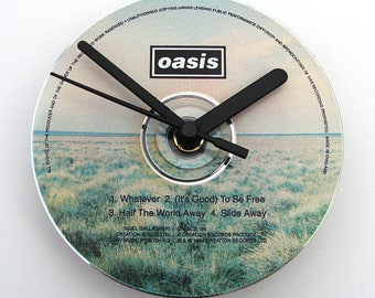 "OASIS DAY CD Clock, ""Whatever"" and ""Half The World Away"", Recycled music cd single, Gift for, men, women , indie brit rock pop gallagher"