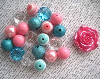 Chunky Necklace Kit, Aqua and Pink Gumball Bead Kit, Pastel Bubblegum Necklace Kit, DIY Necklaces, Fun Kids Project