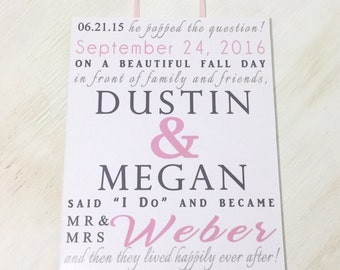 Wedding Day Sign - Wedding Anniversary Gift - Wedding Gift - Bridal Shower Table Display