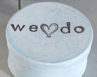 We Do ring bearer, Rustic wedding monogram burlap. White Gray ring box with initials. ring bearer box