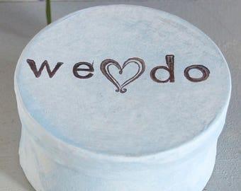 We Do ring bearer, Rustic wedding monogram burlap. White Gray ring box with initials. ring bearer box