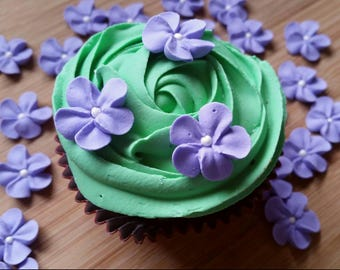 Small purple flowers  -- Edible cake decorations cupcake toppers edible (24 pieces)
