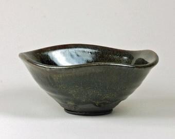 Squared black clay bowl salt fired Tenmoku