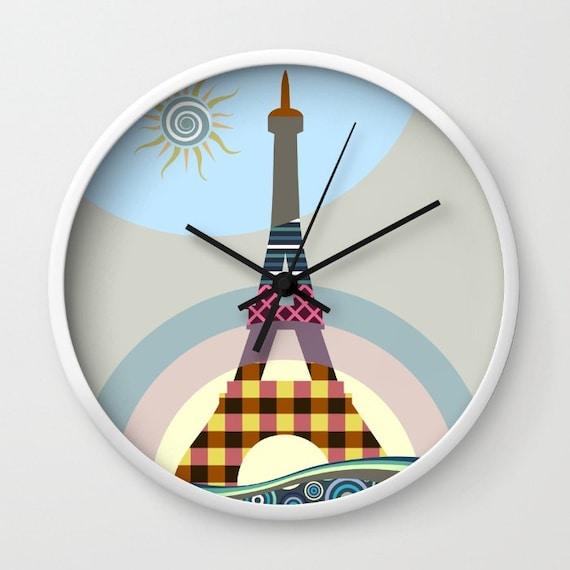 Eiffel Tower Decor, Eiffel Tower Gifts, Eiffel Tower Print, Eiffel Tower Painting, Paris Print, Paris Decor, Cute Clock, Clock Art