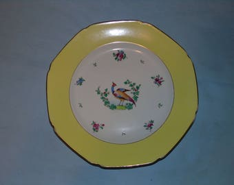 Vintage whieldonware,F.winkle co ltd  old bow pattern # 8756 yellow rim with gold trim , Pheasant & Flowers Center england