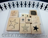 Stars Rubber Stamps, Stampin Up Wooden Stamp Set of 10 Star Christmas Happy Holidays Starry Decoration Card Making Retired 2003 (53)
