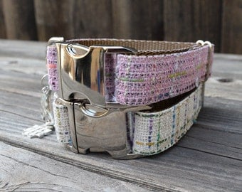 The Nob Hill Dog Collar - Pastel Pink Plaid - Colorful Wool Dog Collar, Metal Buckle