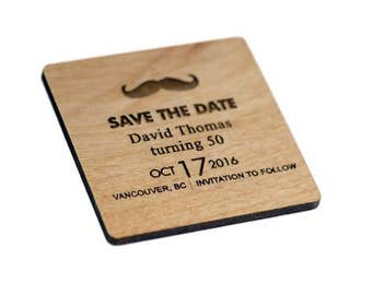 50th Birthday Save the Date Magnets - Birthday Favors - Gift Tags - Laser Cut and Etched on Wood