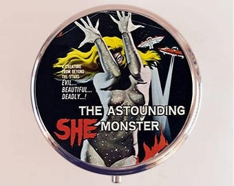Astounding She Monster Pill Box Case Pillbox Holder Trinket Stash Box Retro B-Movie Kitsch