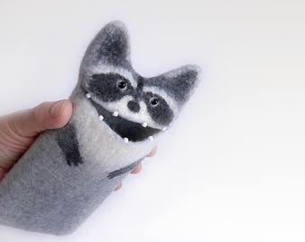 iPhone 7 Plus Raccoon case, gray case, felt animal, wool sleeve,  phone cover, eco-friendly, ready to ship.