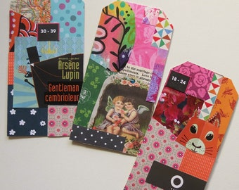 Art tags, collage tags, bits 'n pieces, art journaling, gift, bookmark, craft supplies