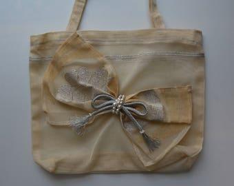 Carry bag, Roh gauze silk tote, vintage Japanese summer obi fabric, evening handbag