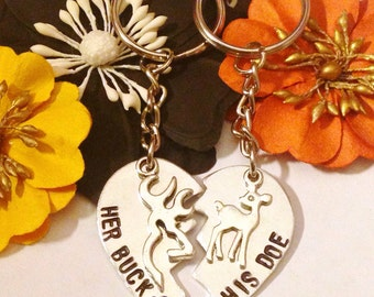 Couples necklace or keychain sets. Gifts for him, gifts for her, buck & doe, hunting theme, unique gift, stamped jewelry, woodland