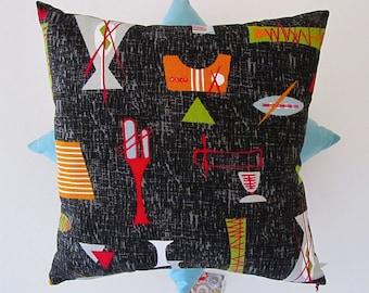 Tiki barkcloth cushion cover in black/blue