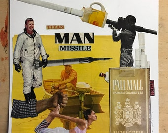 Collage art. Original artwork. Man Missile. 12x12. Magazine clippings on mixed media paper.