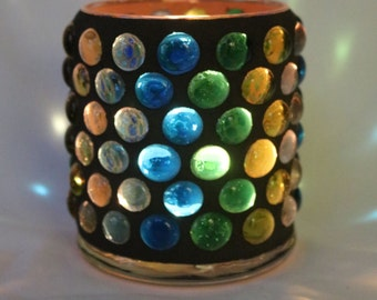 Green and blue gem mosaic candle holder