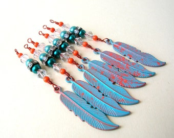 6 Handmade Feather Bead Drops - Drop Beads - Bead Lot - Long Feather Charms - 1 Loop - Copper Tone