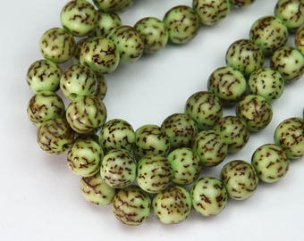 Dyed Salwag Nut Beads, Lime Green, 10mm Round - 16 inch Strand - eS044-10