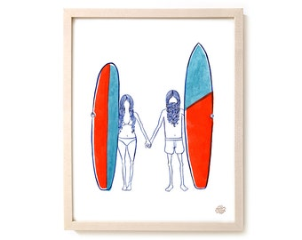 "Surfing Art Print ""Together"" - Mixed Media"