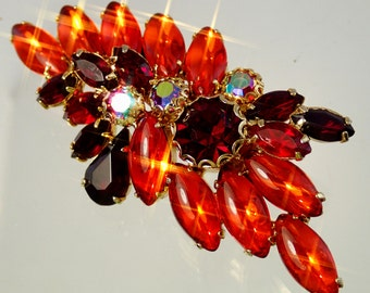 FREE Shipping Vintage Orange Leaf Spray Rhinestone Brooch Pin Red Aurora Borealis Stunning Colors