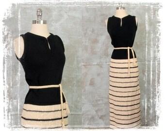 Vintage 1960s Dress, 1960s Two Piece Dress,  Knit Skirt & Sweater Set, Maxi Skirt, Sleeveless Sweater, Knit Dress, Knit Maxi, Small