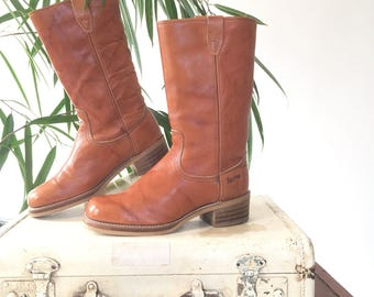 70s Alamo boots, womens western boots, tan leather calf high | size 6