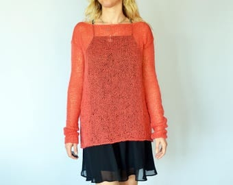 Coral Red Boat Neck Mohair Sweater Sheer Blouse Knit Tunic