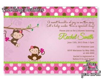 Pink Monkey Girl Baby Shower Invitation | Pink Baby Girl Shower Invitation | Little Monkey Shower Invite | Baby Monkey Shower Printable