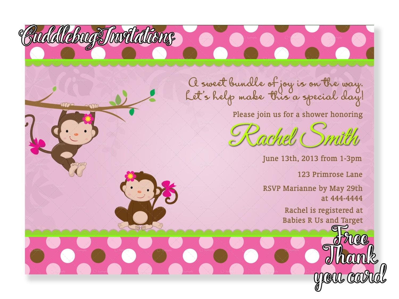 pink monkey girl baby shower invitation pink baby girl