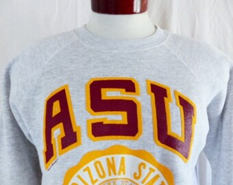 go ASU Sun Devils vintage 90's 1991 Arizona State University heather grey fleece graphic sweatshirt raglan gold red puffy print seal Large
