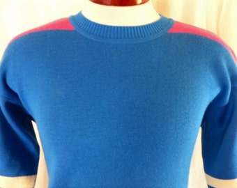 vintage 80's CB Sports blue wool knit ski sweater color block pink shoulder stripe white varsity stripe pullover jumper crew neck Large medi
