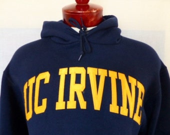 Go UCI Anteaters vintage 90's University of California Irvine navy blue fleece graphic hoodie sweatshirt embroider gold logo oversized small