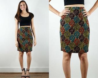 1990s Tapestry Pencil Skirt