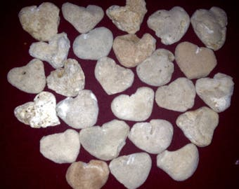 25 Medium Heart Shaped Beach Rocks Wedding Decor, Aquariums, Bridal Gifts Crafts