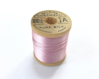 BELDING CORTICELLI - Vintage Thread - #8120 - Pure Silk - 100 yds - Pink Color - 1 Spool Avail - Embroidery Ribbonwork Fly Tying