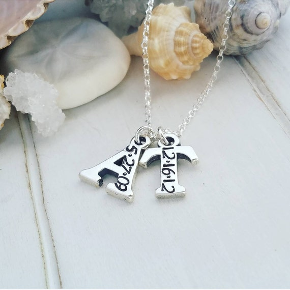Personalized 2 Letter Initial Necklace, Sterling Silver, Initial Necklace, Mother necklace, Initial Date Necklace, Letter birthdate necklace