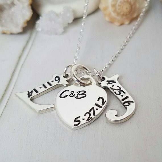 Solid Sterling Silver Initial 2 Necklace, Letter Initial With Heart, Personalized Mothers Necklace, Birthdate Initial Necklace, Anniversary