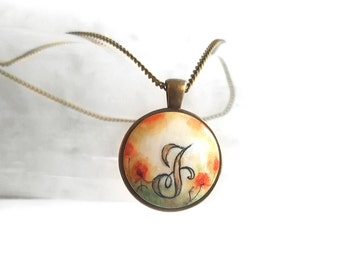 """Personalized Pendant Necklace, Handwritting Letter J Charm, Hand Painted J Pendant, Letter Painting, Artisan Necklace Chain 16"""", 18"""" or 20"""""""
