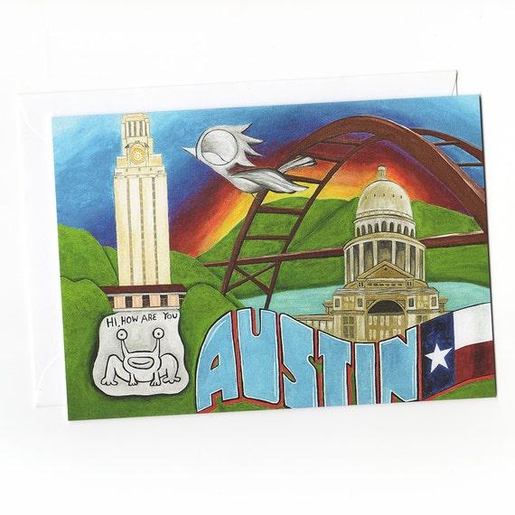 Greeting Card - Austin Texas, Dream Bird Art, Texas Greeting Cards, Austin Greeting Cards, Greetings From Austin